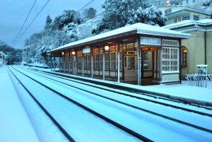 Stazione di Miramare Ts dopo la nevicata